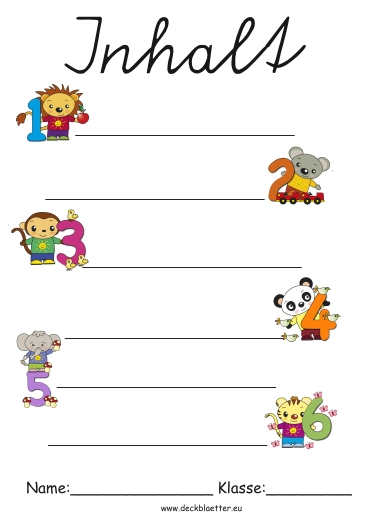 Inhaltsverzeichnis Zum Ausdrucken Schule: Deckblätter Inhaltsverzeichnis
