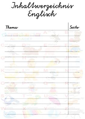 Deckblätter Inhaltsverzeichnis Englisch Grundschule Inhalt Schulfächer