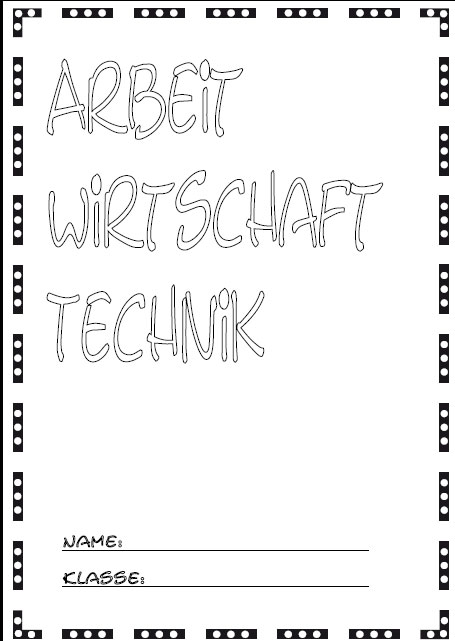 Deckblätter Arbeit Wirtschaft Technik   Schule Schulfach