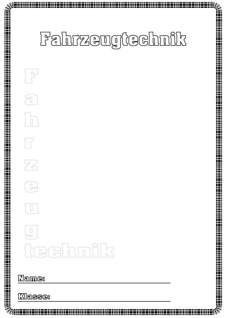 Deckblatt fahrzeugtechnik als pdf ausdrucken