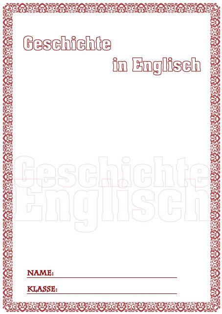 Deckblatt geschichte in englisch