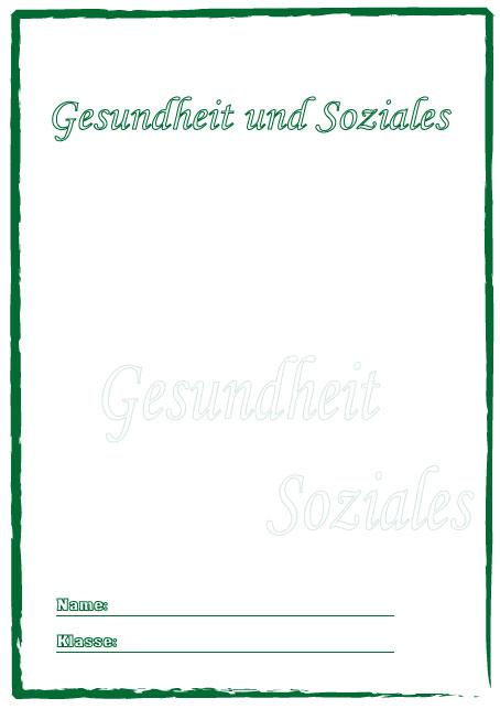 Deckblatt gesundheit und soziales als pdf ausdrucken