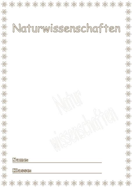 Deckblätter Naturwissenschaften   Schule Schulfach