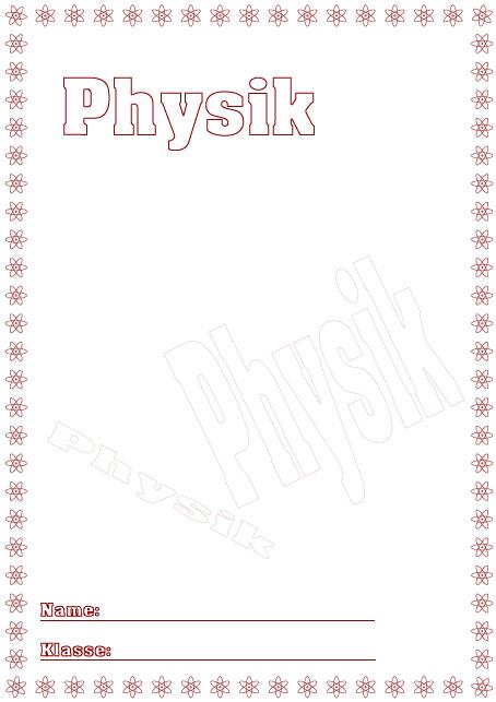 Deckblätter Physik Schule Schulfach