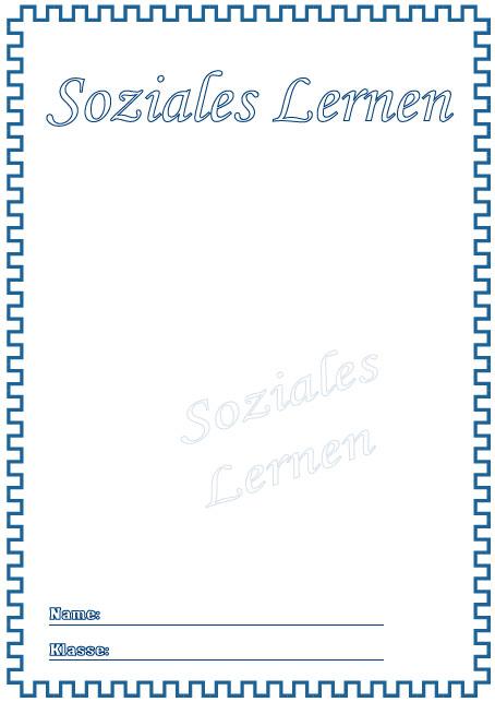Deckblätter Soziales Lernen   Schule Schulfach