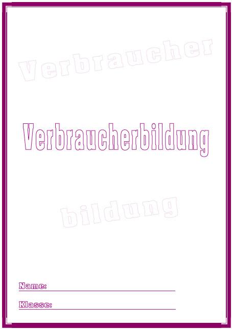 Deckblatt verbraucherbildung als pdf ausdrucken