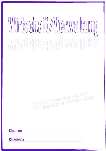 Deckblatt Wirtschaft Verwaltung