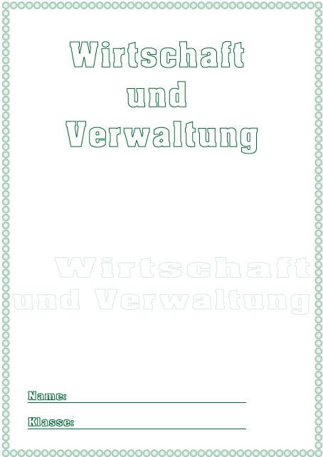 Deckblatt Wirtschaft und Verwaltung