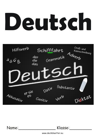 Deckblätter Deutsch   Deutsch Schulfächer
