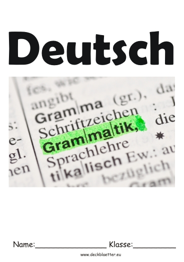 Deckblätter Grammatik   Deutsch Schulfächer